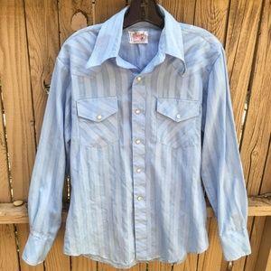 Vtg Palomino Wstrn Shirt Pearl Snap Blue Stripes M